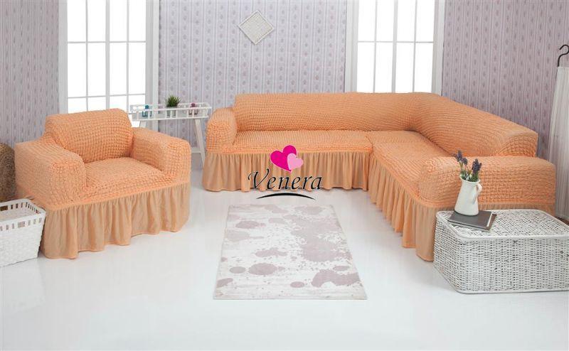 Чехол натяжной на угловой диван и кресло DONNA  персиковый 227 и еще 15 расцветок