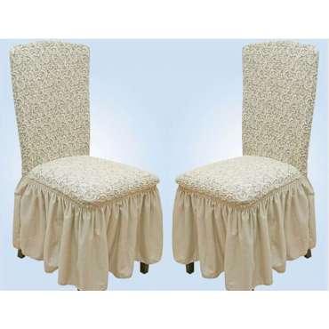 Чехлы VIP натяжные на стулья жаккардовые DONNA  набор 6 шт кремовые 204