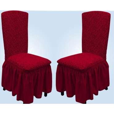 Чехлы VIP натяжные на стулья жаккардовые DONNA  набор 6 шт бордовые 221