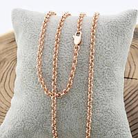 Цепочка Позолота 585 пробы длина 50 см, ширина 3 мм,медицинское золото, ювелирный сплав,бижутерия xuping