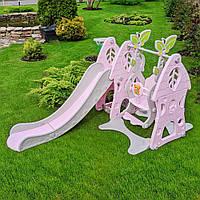 Набор - Детская горка и качели для девочки с баскетбольным кольцом SLW-G-6-8 Bamby розовая