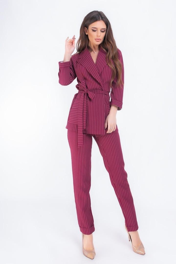 Женский брючный костюм пиджак под пояс с карманами 42, 44, 46, 48