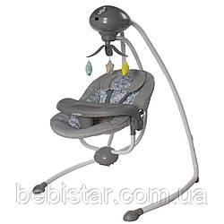 Кресло-качалка укачивающий центр серая от сети и батареек CARRELLO Fantasia CRL-7503 Lovely Grey с рождения