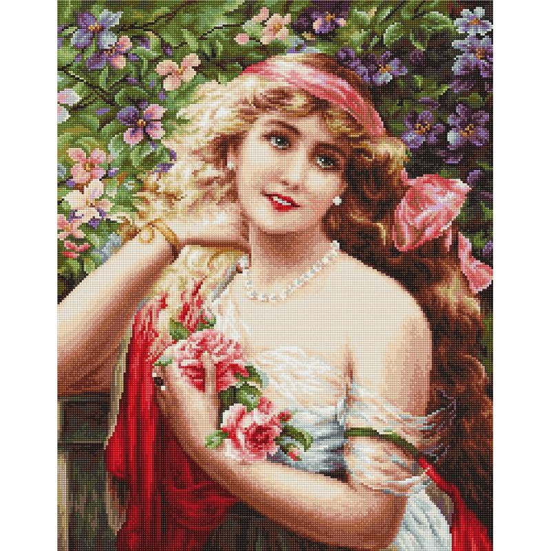 Наборы для вышивания крестом Классика Luca S Девушка с розами