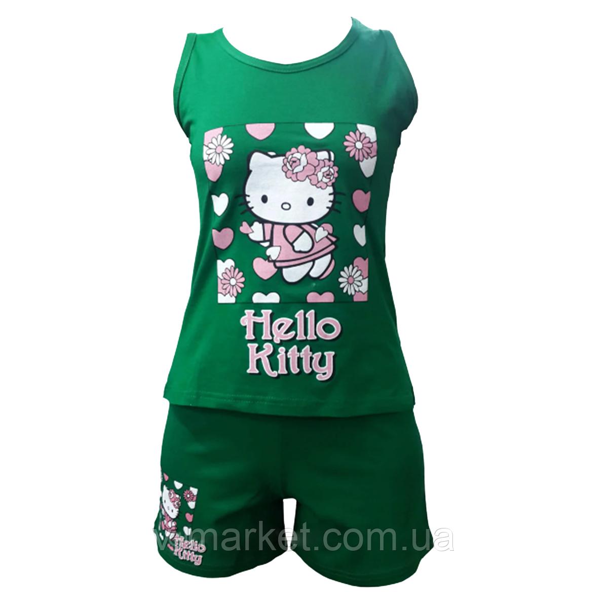 Летняя пижама женская с шортами Hello Kitty, ткань трикотаж, размер 42-46