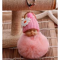Брелок на сумку рюкзак Меховой брелок Кукла цвет Нежно Розовый 11см