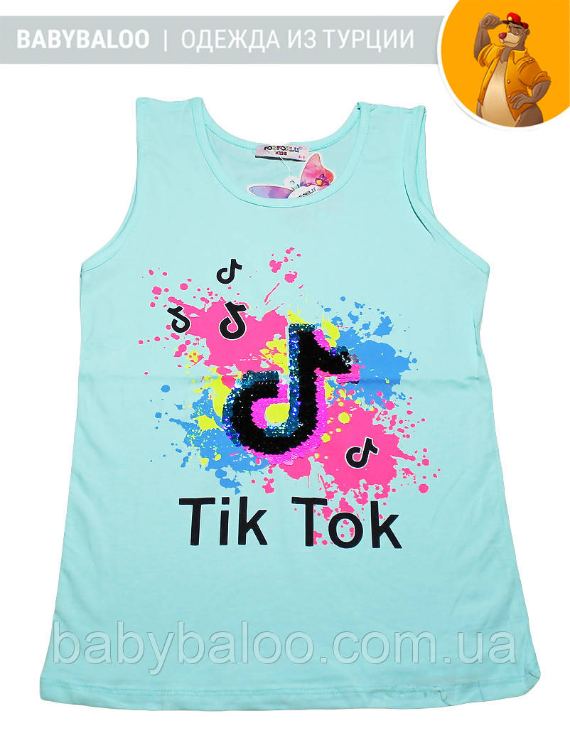 """Красивая майка  для девочки """"Tik-tok""""(от 9 до 12 лет)"""