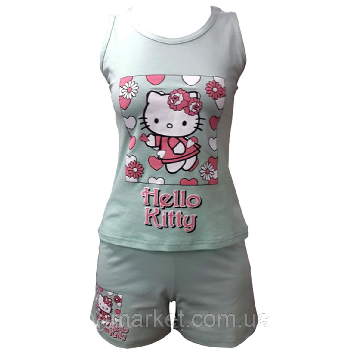 Річна піжама жіноча з шортами Hello Kitty, тканина трикотаж, розмір 42-46
