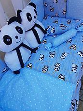 """Набір постільної білизни в дитячу ліжечко/ манеж """"Панда"""" - Бортики / Захист в ліжечко, фото 2"""