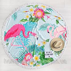 Круглое пляжное полотенце (покрывало) с фламинго,диаметр 150 см + подарок