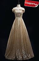 Золотое платье вечернее «Золотой век». Платье золотое в пол. Вечірня сукня золото-срібло