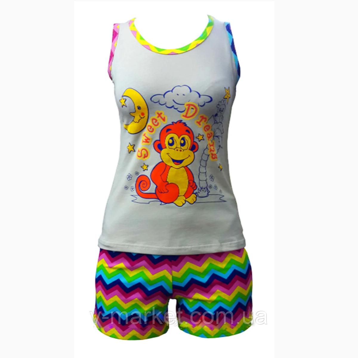 Летняя пижама женская с шортами, ткань трикотаж, размер 42-52