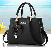 Модная женская сумка с брелком. Стильная женская сумочка через плечо эко кожа