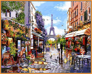 Картина по номерам на холсте с подрамником Цветущий Париж