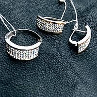 Серебряные серьги и кольцо с золотыми пластинами Кристалл Сваровски