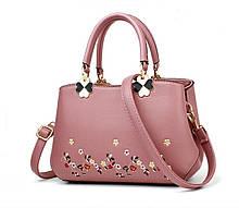 Женская сумочка с вышивкой. Стильная модная  сумка для женщин. Женская сумка мини да, да, Розовый