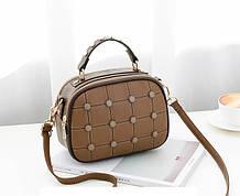 Модная женская сумочка с пуговицами Коричневый