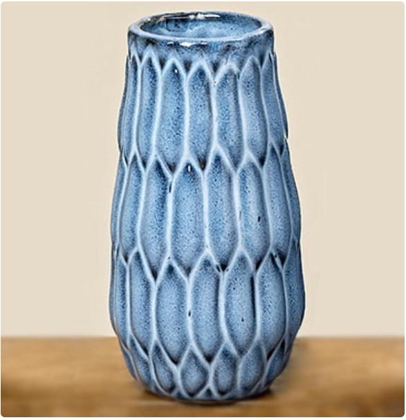 """Ваза """"Акварель"""" синяя керамика h15см d9.5см"""