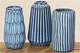 "Ваза ""Акварель"" синяя керамика h15см d9.5см, фото 2"