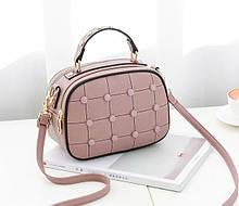 Модная женская сумочка с пуговицами Светло-розовый