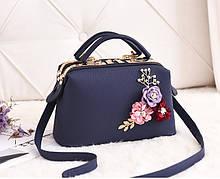 Стильная женская сумка с цветами да, да, Синий