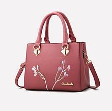 Модная женская сумка с вышивкой,качественная кожаная сумка для женщин, элегантная сумочка для женщин девушек да, да, Темно-розовый