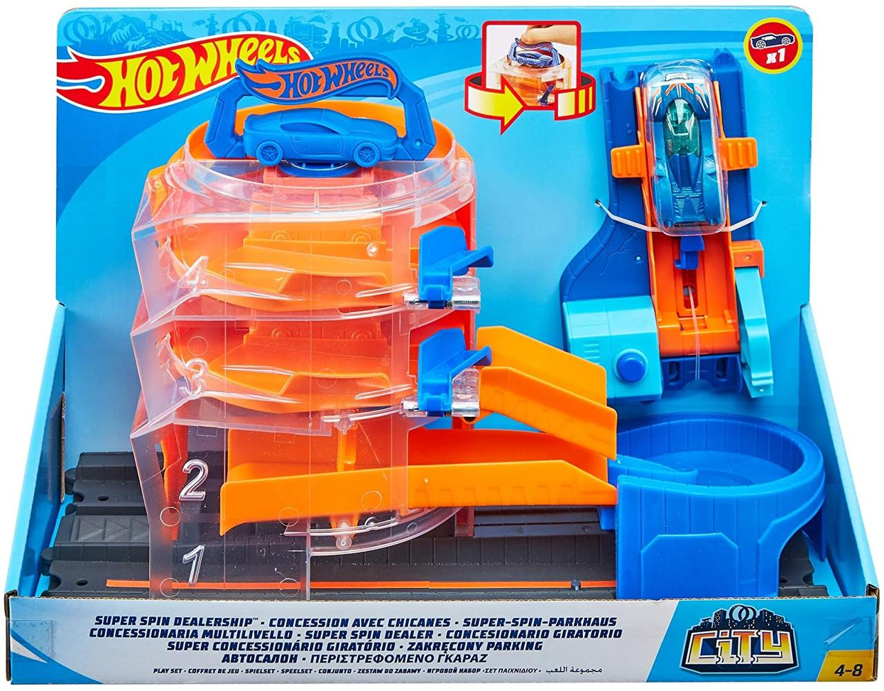Хот Вилс Оригинал Супер Спин Дилерский центр Hot Wheels Super Spin Dealership (GBF95)