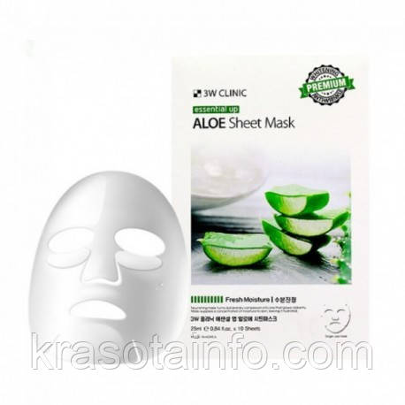 Тканевая маска для лица с  Алоэ,  3w Clinic Essential Up Aloe Sheet Mask, Корея
