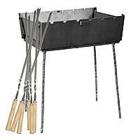 Мангал - чемодан 3 мм на 6 шампуров 410х300х140мм + Набор шампуров