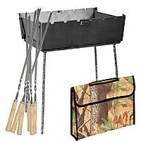 Мангал - чемодан 3 мм на 6 шампуров 410х300х140мм + Чехол + Набор шампуров, фото 1