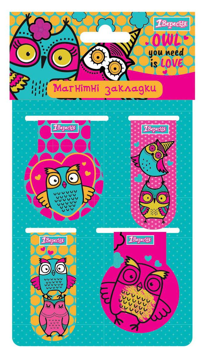 """Закладки магнитные 1Вересня """"Owl"""""""