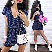 Женский комбинезон с шортами ( принт цветочный и горошек), фото 1