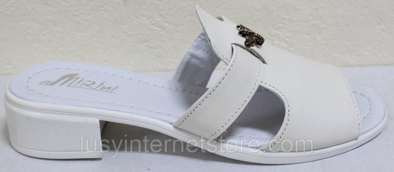 Сабо бежевые женские кожаные на низком каблуке от производителя модель РИ1130-3