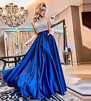 Вечернее платье «Королевство полной луны» Платье атласное. Платье атласное с камнями.