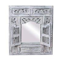 Зеркало настенное с ставнями деревянное резное,80см*90см