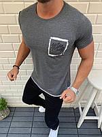 Модная мужская летняя турецкая хлопковая футболка серая с белой