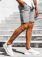 Стильные мужские однотонные хлопковые светло-серые шорты