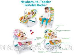 Детское кресло шезлонг - качалка 7188 / 7288 с обеденным столиком 2 в 1 Вибро, музыка, игрушки 2 вида