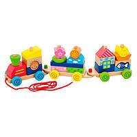 Каталка Viga Toys Поезд из блоков (50089)