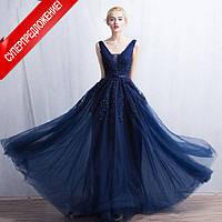 Синее вечернее платье «Кейт» .Вечернее платье Украина. Пышное синее вечернее платье