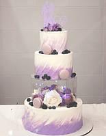 Акриловый ярус (бокс) для торта восьмиугольник 25*25*12 см, боксы для цветов.