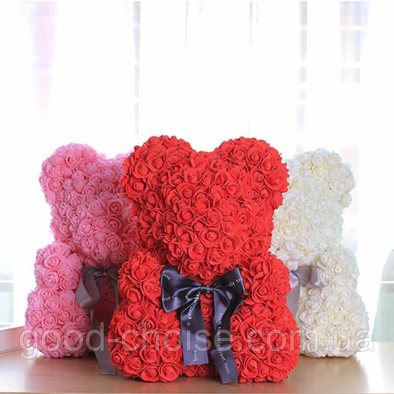 Мишка из Роз 25см, Мишка из цветов в подарочной коробке