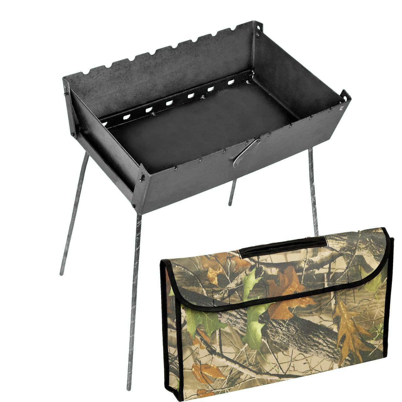 Мангал - чемодан 3 мм на 8 шампуров 450х300х140мм + Чехол