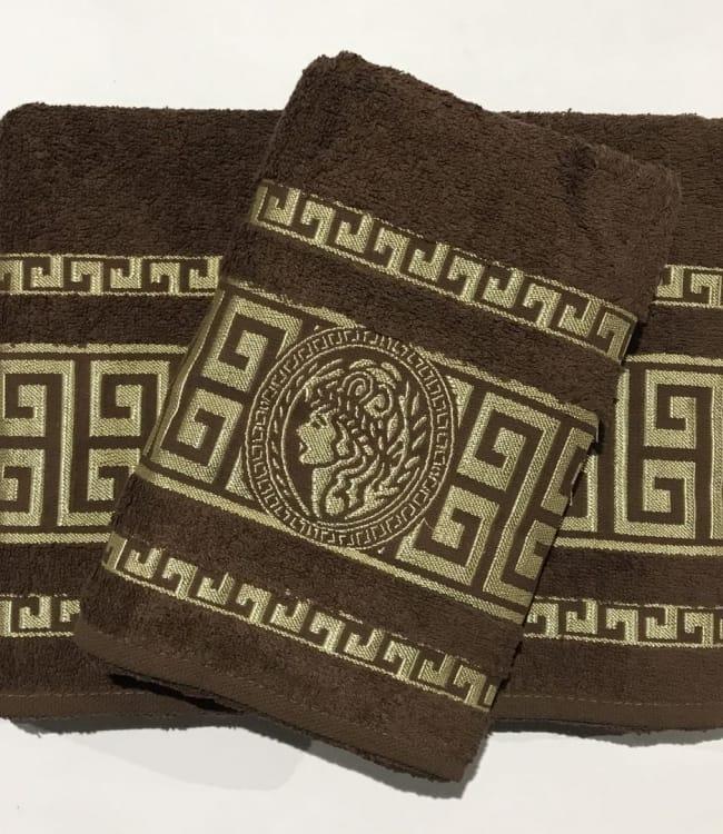 Набір рушників для обличчя і тіла Gold Soft Life Версаче 50*90 см + 70*140 см махрові банні в коробці коричневий арт.ts-01357