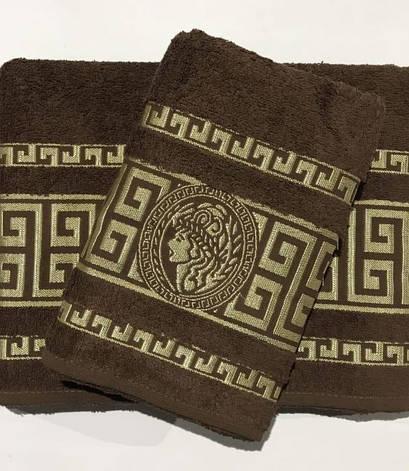 Набір рушників для обличчя і тіла Gold Soft Life Версаче 50*90 см + 70*140 см махрові банні в коробці коричневий арт.ts-01357, фото 2