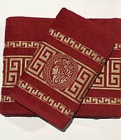 Набор полотенец для лица и тела Gold Soft Life Версаче 50*90 см + 70*140 см махровые банные в коробке красный