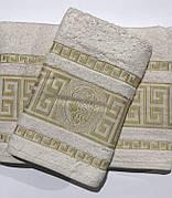 Набор полотенец для лица и тела Gold Soft Life Версаче 50*90 см + 70*140 см махровые банные в коробке молочный арт.ts-01356