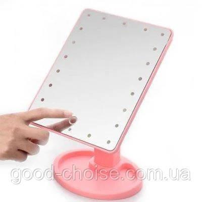 Настольное косметическое зеркало для макияжа с LED/ЛЕД подсветкой 21x16 см Mirror Magic Make Up прямоугольное