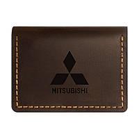 Кожаная обложка для автодокументов Anchor Stuff Mitsubishi Коричневый (as150402-7)