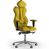 Кресло KULIK SYSTEM ROYAL Экокожа с подголовником без строчки Желтый 5-901-BS-MC-0211, КОД: 1697142